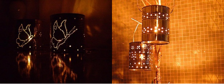 Luminaria feita com latas